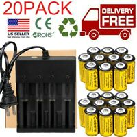 16340 Battery 3.7V Li-Ion Rechargeable RCR123A Smart Batteries Cell Charger Lot