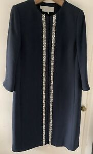 Hobbs Navy Blue Embellished Coat UK Size 10