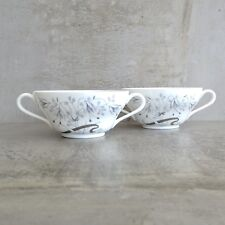 2 Wedgwood Soup Coups Bowls with Handles 300mls Bone China Made in England white