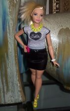 Curvy Barbie Doll Clothes Belle Black White Striped Top Black Skirt Shoes & More