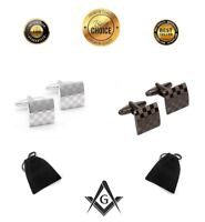 Freemason Masonic Sign Cufflinks Checkered Silver Black Checkerboard | 2 Pairs