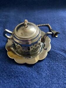 Small Teapot Shaped Tea Infuser w Under Plate Stainless for Loose Leaf Tea