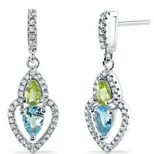 Swiss Blue Topaz and Peridot Earrings Sterling Silver 1.50 Carats Total
