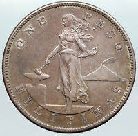 1905 S PHILIPPINES Under US Administration w Eagle OLD Silver PESO Coin i89199