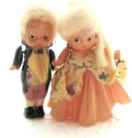 """MINIATURES 1920 VTG CELLULOID EARLY PLASTIC DOLL 2-1/2"""" TALL CREPE PAPER CLOTHES"""
