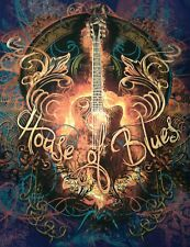 House Of Blues shirt Houston Guitar fire TEE T SHIRT Large L Blue Music