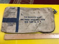 VINTAGE CANVAS BAG The HANOVER BANK NEW YORK , AND SHELTON CONNECTICUT