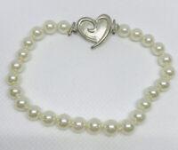 Vintage Signed Mary Kay Silver Tone Heart Glass Pearl Bead  Beaded Bracelet