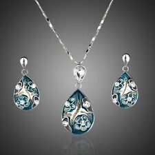 18K Gold Plated Swarovski Elements Pendant Necklace And Earrings Jewellery Set