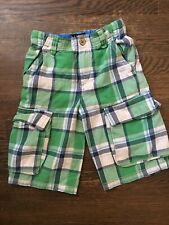 Mini Boden Plaid Cargo Shorts Blue Green White Size 6 Y Adjustable Waist