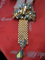 "Stunning AURORA BOREALIS RHINESTONE Medal Brooch w/ Gold Mesh Band, 3 1/2"" LQQK!"