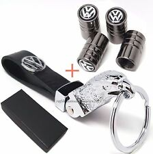 VW Volkswagen eagle head metal and leather key ring with Tyre valve caps in box