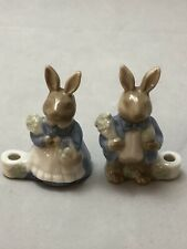 Biedermann - Sri Lanka - 2 Bunny Rabbits Girl And Boy Candle Holders Miniature