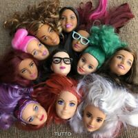 Random 3pcs Mattel Barbie Styling Makeup Head Multi Colored Hair sdus gift