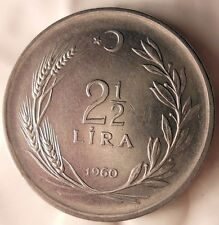 1960 TURKEY 2 1/2 LIRA - AU - FIRST YEAR DATE - STRONG VALUE - FREE SHIP - HV9