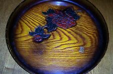 """Round tray with """"carved"""" rose/hard plastic material/Made in Japan/12"""" circum."""