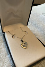 Love my Cat Sterling Silver Necklace Reversible To Paw � Print New��