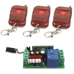 AC 110V 1CH Relay Wireless Remote Control Switch 3 Transmitter + Receiver On/Off