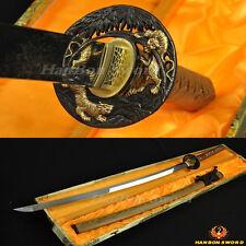 JAPANESE SAMURAI SWORD KATANA FULL TANG CLAY TEMPERED BLADE TIGER COPPER TSUBA