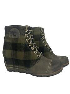 Sorel Womens Size 9.5 Wedge Heel Boots Green Plaid