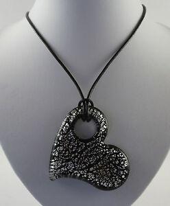 "Various silver foil glass hearts pendant & 19"" black leather cord necklaces."