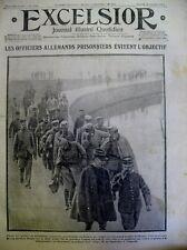 WW1 OFFICIERS ALLEMANDS PRISONNIERS REINE AMELIE EXCELSIOR 31 OCTOBRE 1914