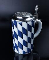 AK Kaiser Bierkrug Porzellan Bier Krug mit Zinndeckel bayerisches Motiv Keramik