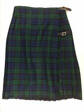 Moffat Weavers Wool Acrylic Kilt Scotland Ladies 26 Waist Blue Green Vtg Sz 14