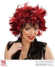 Parrucca punk vaporosa striata rosso nera