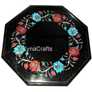 14 Inches Elegant Marble Corner Table Mosaic Art Coffee Table Top for Lawn Decor