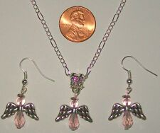 """CHRISTMAS NECKLACE & EARRING SET-ANGELS-PINK-24"""" SILVER PLATED-CRYSTAL BEADS"""