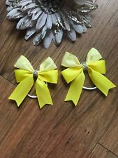 Handmade Girls White And Gold Hair Bows Bobbles sold in Pairs Double Pin Wheel
