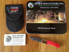 "BEAR & SON MINI EXECUTIVE DAMASCUS LOCKBACK KNIFE 2-1/4"" PINK HANDLE GIFT TIN"