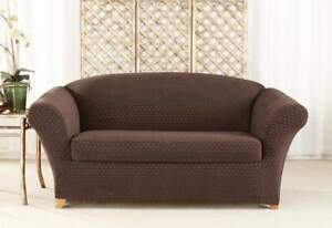 sure fit Stretch Nouveau Two Piece Loveseat Slipcover  chocolate new