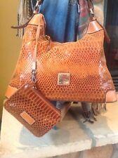 Dooney And Bourke Snakeskin Embossed British Tan Leather Shoulder Bag