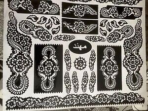 New Henna Stencil Mehndi Templates Easy To Use Design Indian Style Body Art Eid