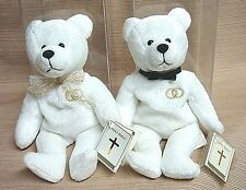 "2 HOLY WEDDING BEARS Sacrament Series 1999 ""UNITY"" Mint in PLASTIC Display Cases"