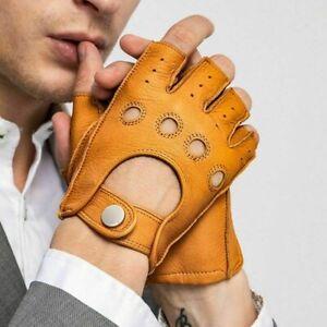 Gants en cuir véritable pour hommes mitaines de conduite sans doigts...