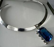 🌠 79g sterling silver 925 full HM sapphire🌠 blue topaz pendant choker necklace