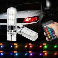 2pcs T10 5050SMD 6LED RGB Auto Car Wedge Side Light Lamp W/Remote Controller HOT