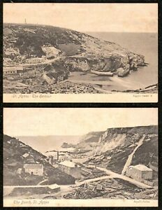 2 X 1910 ST. AGNES POSTCARDS CORNWALL THE BEACH & THE HARBOUR NEAR REDRUTH