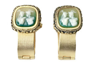 VTG DANTE INCOLAY CAMEO CUFFLINKS MAN WOMAN LOVERS GOLD TONE