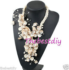 MOP shell Crystal  FW pearl flower necklace  wedding Necklace women necklace
