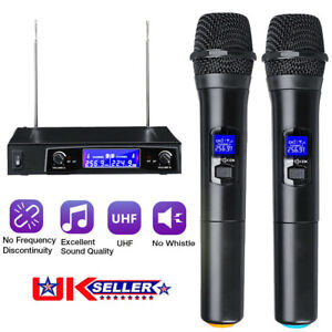 2X Professional 2 Channel Wireless Dual Microphone Mic System Handheld Karaoke