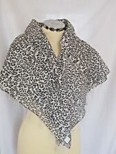 Black White Leopard Print Square Scarf With Silver Stripes Tassels 01