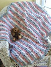 CROCHET knit handmade baby blanket wrap afghan VANNA WHITE yarn pink blue stripe