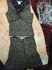 Women's MAX STUDIO BLACK AND PINK FLORAL BLOUSE SIZE M ANS SKIRT SET SIZE S