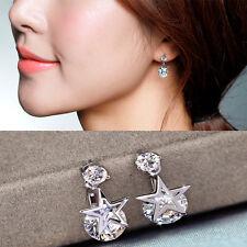 Women Fashion Silver Plated Copper Zircon Ear Studs Star Shape Earrings