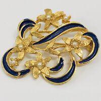 Vintage Blue Enamel Flower Brooch Faux Pearl Pin Gold Tone Floral