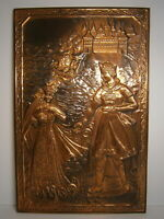 Grand Prince Princess 70s Vtg Metal Picture Russian Royal Palace Castle Painting